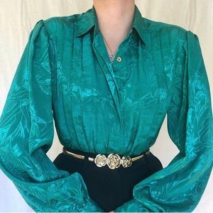Vintage emerald green iridescent floral top
